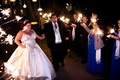 Eve of Milady strapless wedding dress on bride during sparkler exit in Louisiana