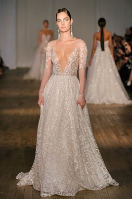 4abf01b9909 Berta spring 2019 bridal collection wedding dress sheer long sleeve  plunging neckline gown crystal