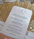 Gold charger plate topped with menu card