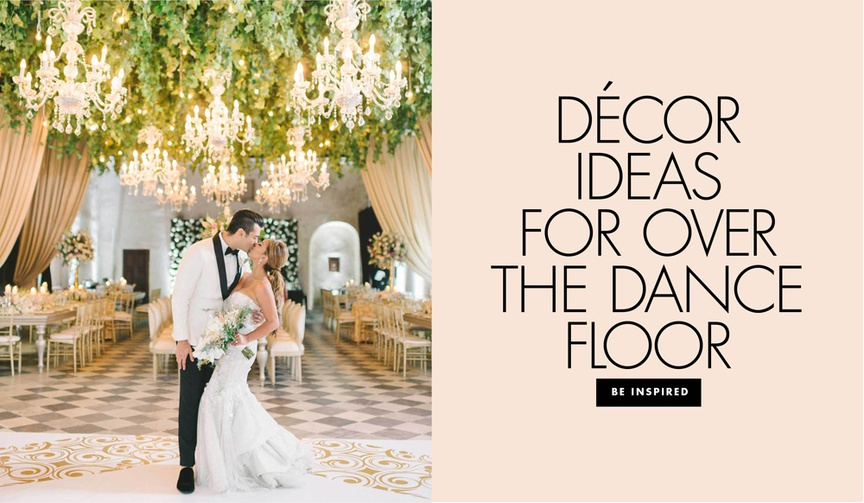 See beautiful floral and light arrangements over the dance floors at elegant wedding receptions!