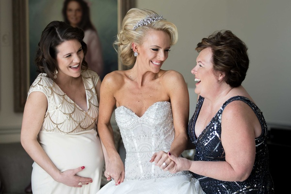 Bride in Ines Di Santo wedding dress with mother of bride and bridesmaid