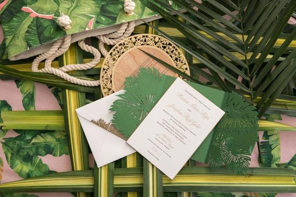 Wedding invitation greenery gate fold palm laser cut design palm welcome bag wood grain menu card