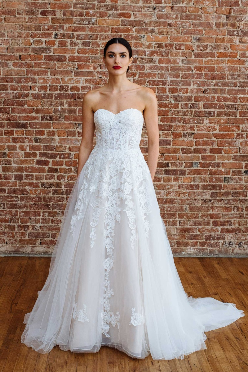 f3584f5af3 David's Bridal spring 2018 presentation strapless tulle skirt lace applique  wedding dress corset