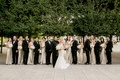 bride in inbal dror, bridesmaids in champagne off-the-shoulder jenny yoo