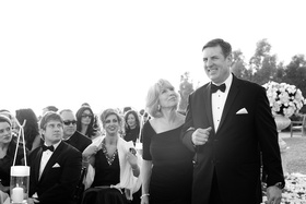 Black and white photo of groom's mom and dad