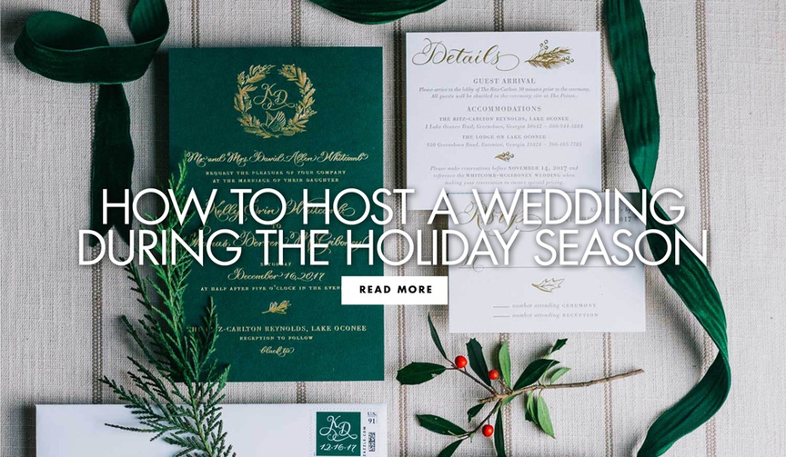holiday season wedding tips and etiquette, invitation suites with forest green and gold