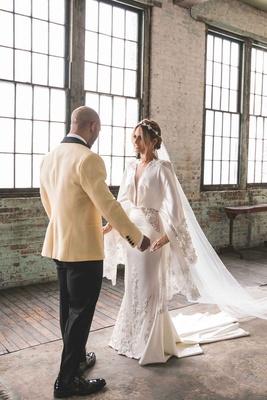 pia toscano american idol jimmy ro smith jennifer lopez wedding embrace unique gown michael costello