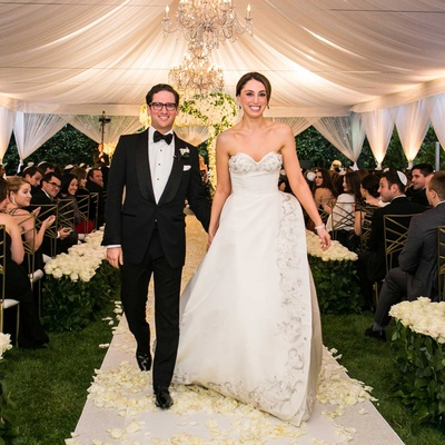 Beverly Hills evening tent Jewish wedding recessional bride in Oscar de la Renta wedding dress