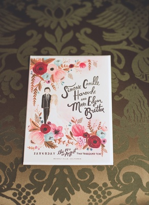 Vintage style wedding invitation with rosy florals by Rifle Paper Co.