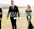 black-tie wedding guests walking towards ceremony, FAQ for wedding guests