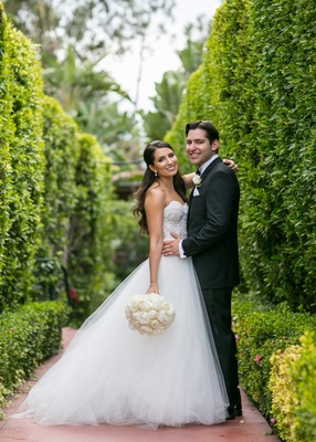 Brooke Polson Love Detailed in Monique Lhuillier wedding dress and groom Jason Kleinman