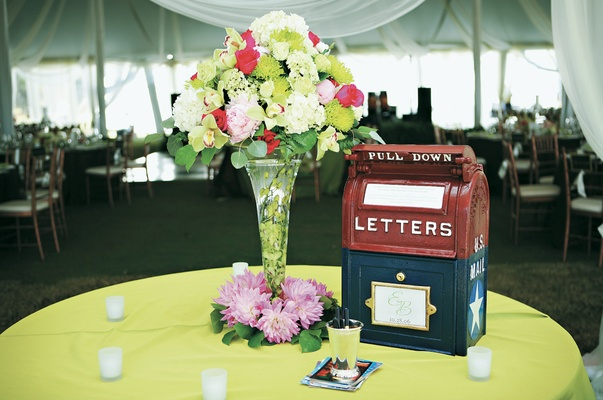Unique guestbook display with classic mail replica