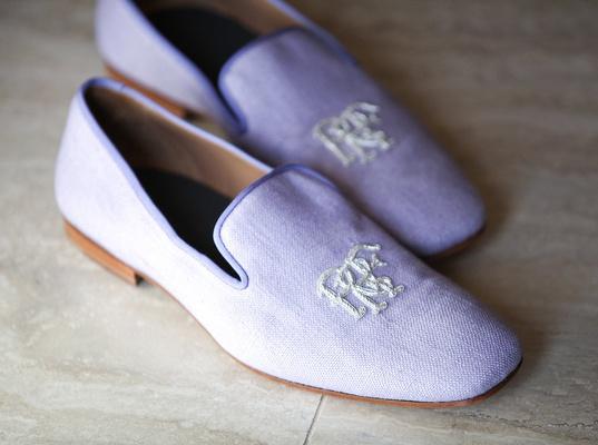 men's wedding shoes, lavender tuxedo slippers, monogrammed tuxedo slippers