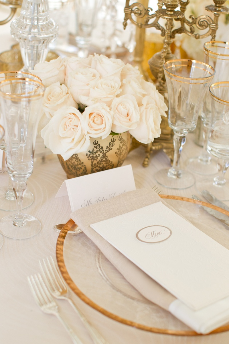 Gold rim wedding charger plate and glassware with golden centerpieces