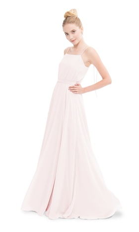 Straight neckline spaghetti strap gown with ties in the back.