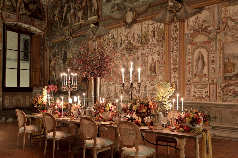 renaissance inspired tablescape in palace in florence, baroque architecture castle