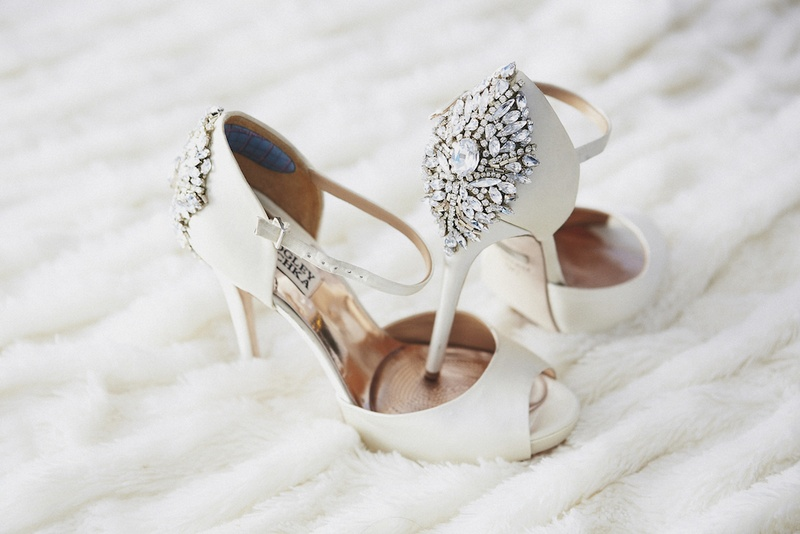 Peep-toe white shoes with ankle strap and crystals