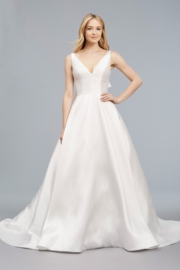 Blue Willow Bride Spring 2018 bridal collection Raquel wedding dress mikado v neckline gown