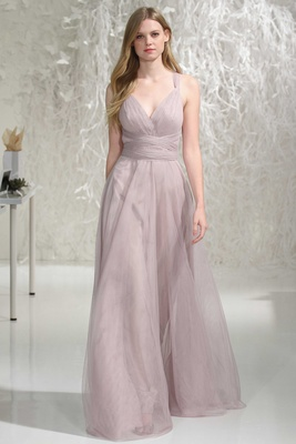 Wtoo Bridesmaids 2016 v-neck bridesmaid dress with long skirt and straps tied around waist