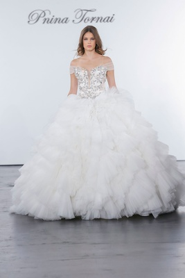 602ed8c717d Pnina Tornai for Kleinfeld 2018 wedding dress ball gown ruffle skirt  crystal bodice off shoulder