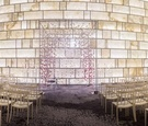 modern ceremony space suspended blooms arch wedding indoors metallics park hyatt new york