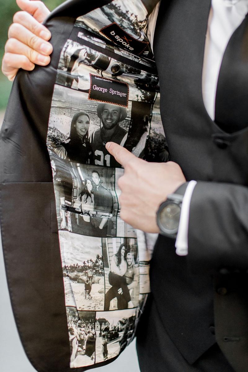 Houston Astros mlb player george springer iii wedding tuxedo custom photos on inside of jacket