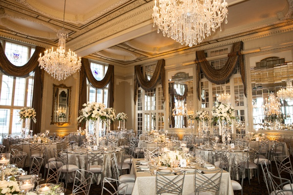 missouri athletic club wedding reception, chandeliers, silver linens and chairs