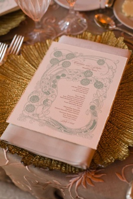 Wedding reception menu with light blue intricate design