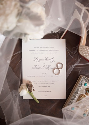 Wedding invitation grey script traditional invite veil shoes wedding rings boutonniere boxes bouquet