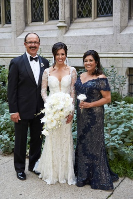 Marvelous ... Bride In Galia Lahav Wedding Dress With Mother Of Bride Dress Beading  Sequins Blue Scallop V ...