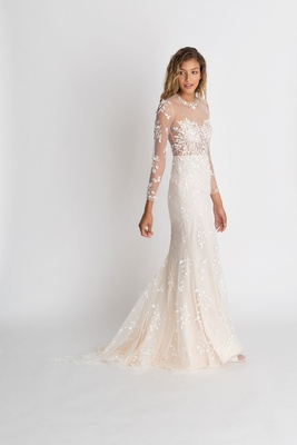 "Alexandra Grecco fall winter 2018 ""The Magic Hour"" wedding dress Wilder illusion long sleeve gown"