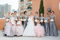 Grey high neck bridesmaid dresses pleated skirt white bouquets pink flower girl and junior maids
