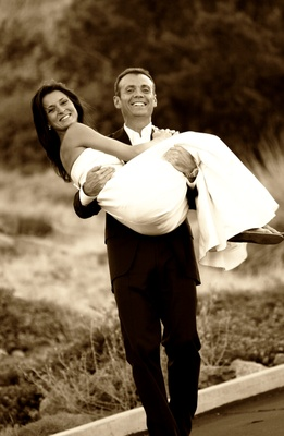 Black and white portrait of newlyweds