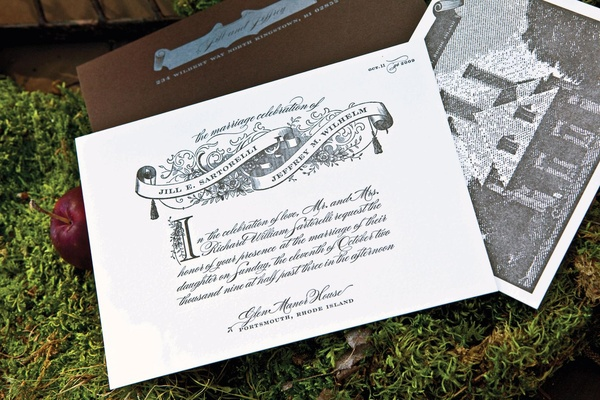 Grayscale wedding invitation with scroll design