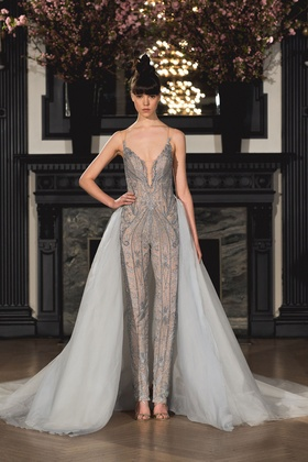 Ines Di Santo Spring 2019 collection jumpsuit with queen anne neckline and train