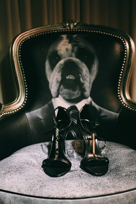 black and gold high heel shoes on chair with dog on the back