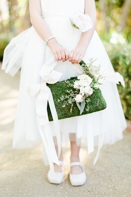 moss flower girl purse basket with flowers and bow