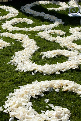 Scroll design on grass aisle with white flower petals