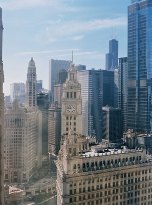 Shot of Chicago from hotel room InterContinental Chicago Magnificent Mile high rise clock tower