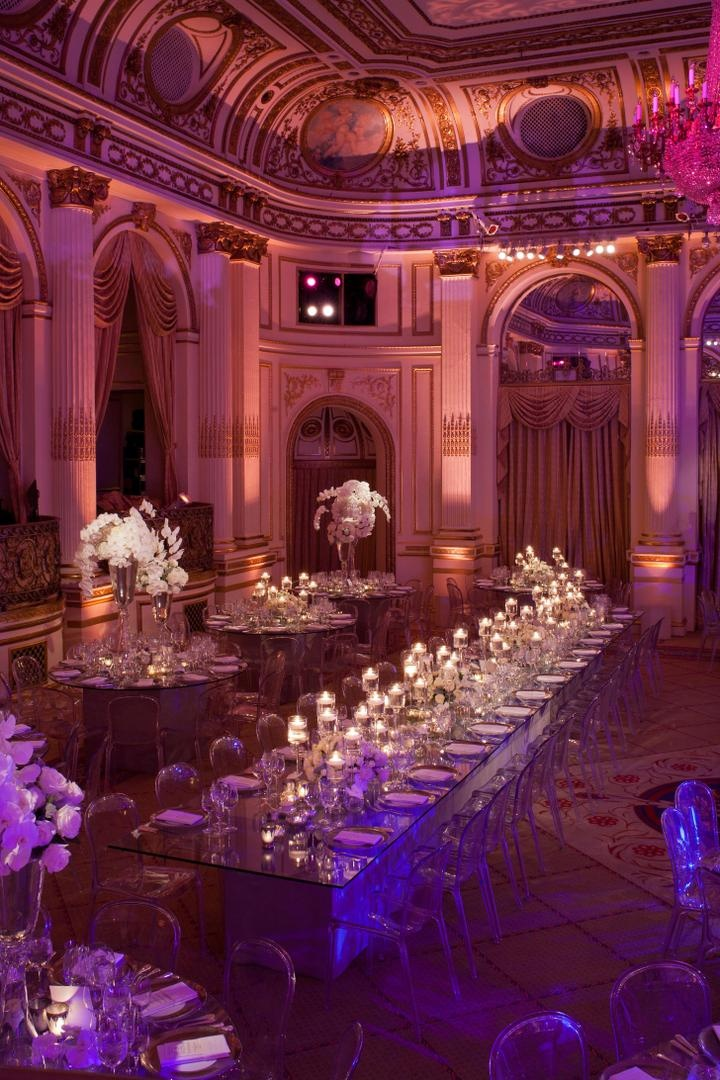 wedding ceremony new york city%0A     ballroom wedding    Long head table with glass top and clear chairs     Opulent ballroom reception