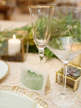 Wedding reception place card at reception table tent card green watercolor design calligraphy white