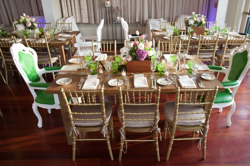 White Chairs At A Wedding Indoor Stock Photo: Gold + Green And White High-Back