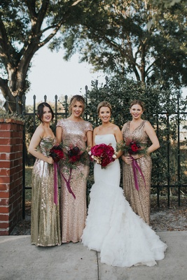 Bride In Liancarlo Ruffled Trumpet Gown Bridesmaids Mismatched Gold And Rose Sequins