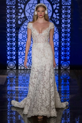 8e861fcd11 Reem Acra Bridal Fall 2016 lace wedding dress with sheer skirt and bodice