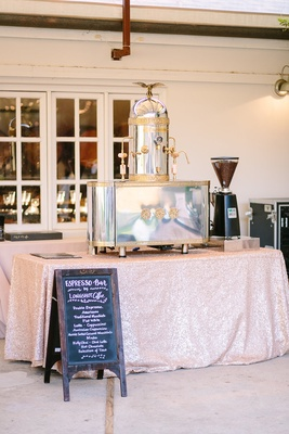 espresso bar metallic linen faux wedding party styled shoot rustic event longshot coffee machine