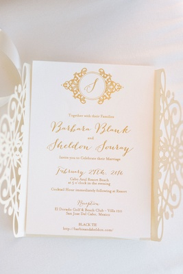 Wedding invitation laser cut design gate fold with monogram and gold calligraphy monogram