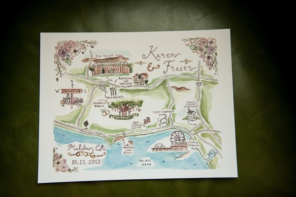 Watercolor painting with personalized locations