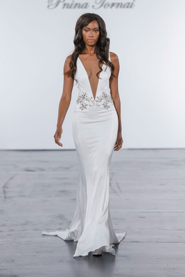 Pnina Tornai for Kleinfeld 2018 wedding dress plunging neckline crepe gown belt dress