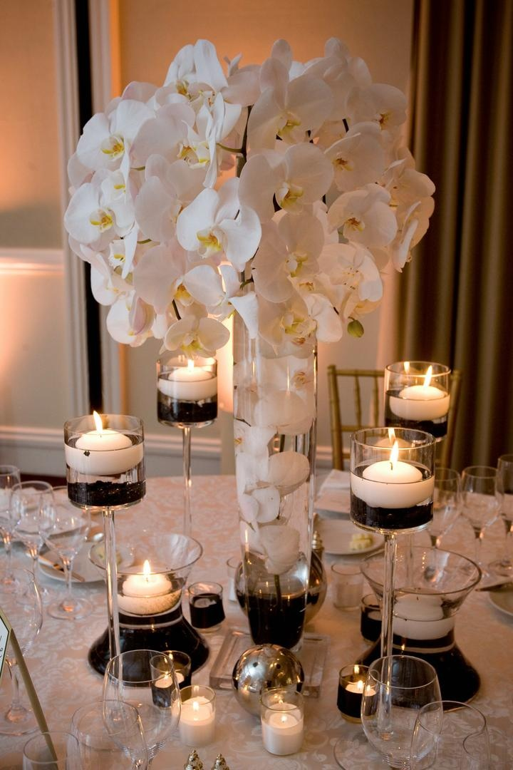 Reception Dcor Photos White And Black Centerpiece Inside Weddings