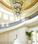 Dena Beber and wedding dress in ballroom